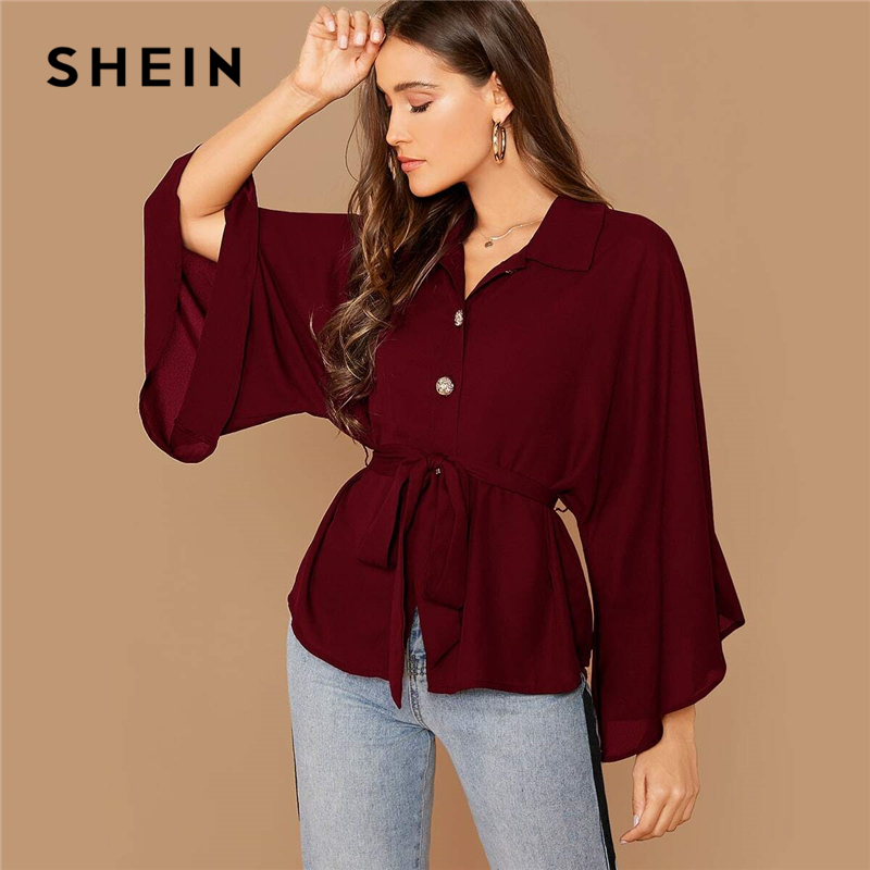 SHEIN Burgundy Kimono Sleeve Gold Button Belted Shirt Blouse Women Spring Autumn Solid Casual Oversized Tops and Blouses 1