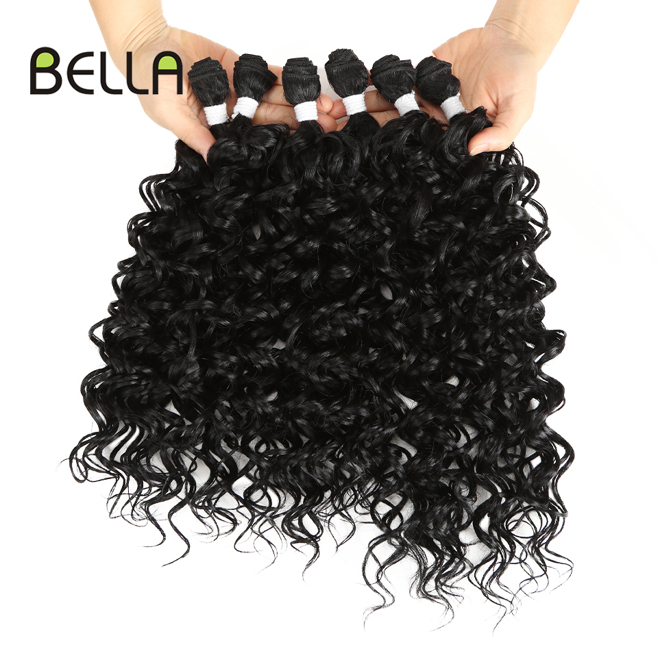 Bella Water Wave Bundles With Closure Synthetic Hair Extension Water Wave Black Ombre Blonde 613 Hair 7Pcs/Pack 26inch Full Head