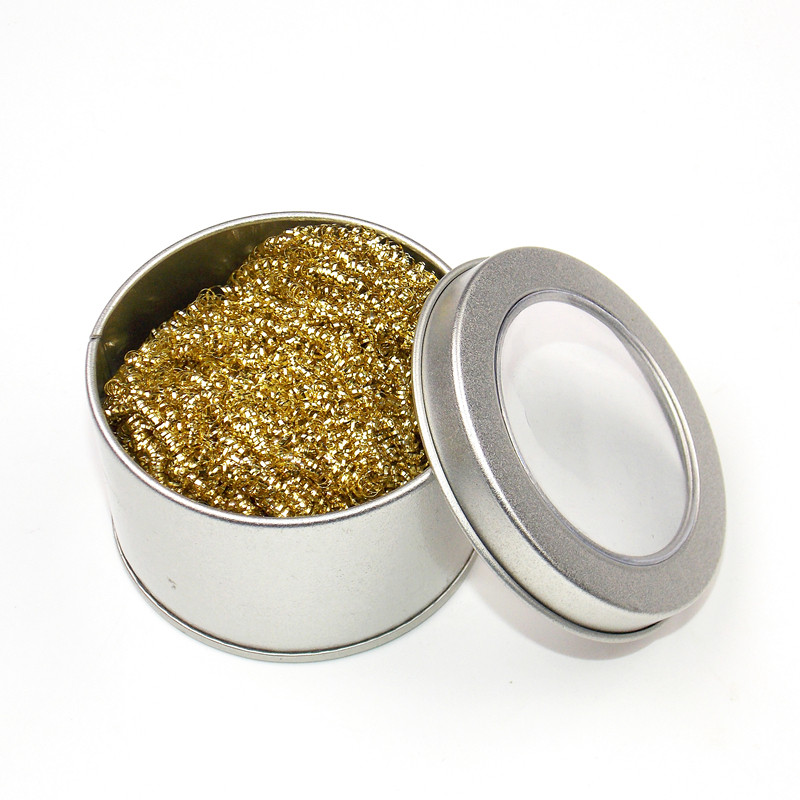 Desoldering Soldering Iron Mesh Filter Cleaning Nozzle Tip Clean Cleaner Dross Cleaning Copper Wire Ball Tin Remove Steel Box