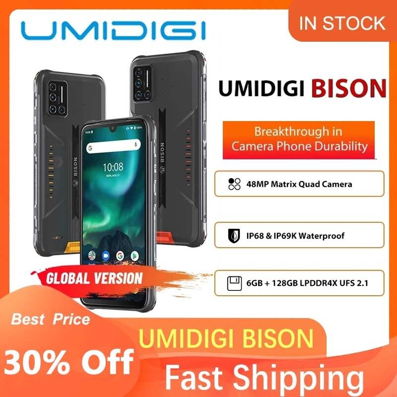 Смартфон UMIDIGI BISON, 6 ГБ + 128 Гб, NFC, IP68/IP69K, водонепроницаемый прочный телефон, 48MP Quad Camera 6,3 дюйма FHD + дисплей, Android 10