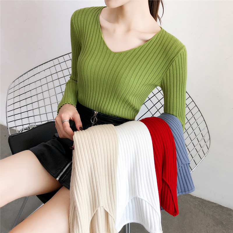 Hot Sweater Women V-Neck Pullover Knitted Winter Clothes Women Solid Long Sleeve Girls Sweaters