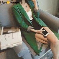 HanOrange Single One Button Spring Autumn 2019 Slim Women Long Blazer Jacket Gray/Green/Black Plus Size