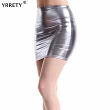 YRRETY New Short Faux Leather Skirts Women 2019 Sexy Slim Thin Package Hip High Waist Pencil Skirt Silver Gray Black Plus Size