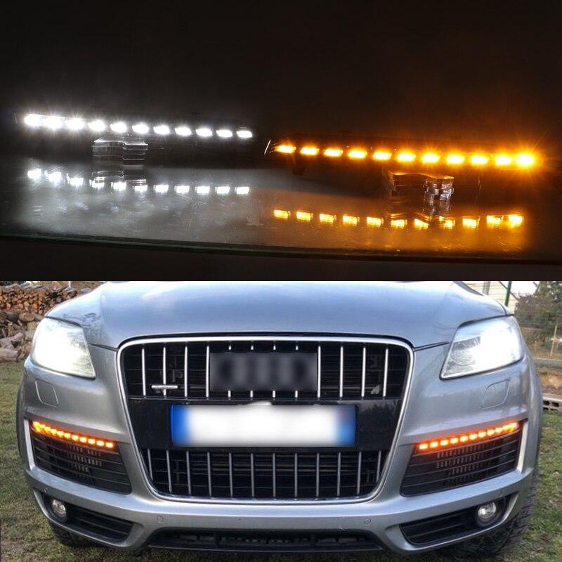 2 шт. светодиодный дневные ходовые огни для Audi Q7 2006 - 2015 динамический желтый Поворотная сигнальная лампа Водонепроницаемый Светодиодный дне...