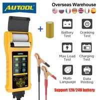 AUTOOL-probador de batería de coche BT760, con impresora térmica, 6- 32V, batería multilingüe, carga máxima