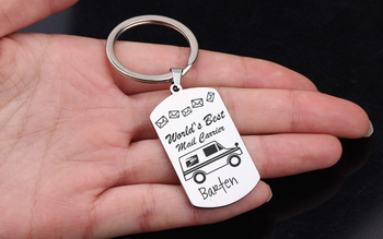 Custom name saves the world's best mail, high-quality key card label car, beautiful bag charm, and gift for Curie key chain image