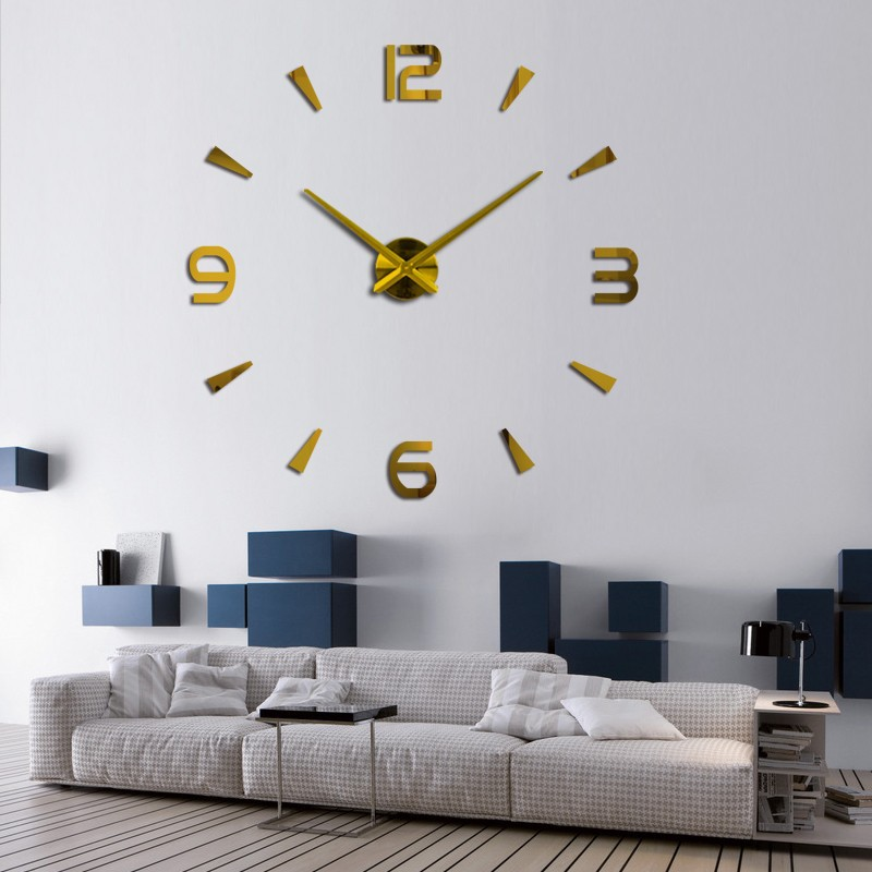 "50~120cm/25~47"" wall clock watch clocks 3d diy acrylic mirror stickers Living Room Quartz Needle Europe horloge free shipping"
