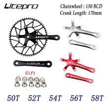 Litepro шатун со звездочками для велосипеда Интегрированный Одиночный передняя Звездочка шатун для велосипеда 50 т 52 54T 56T 58 BCD 130 мм складные гри...