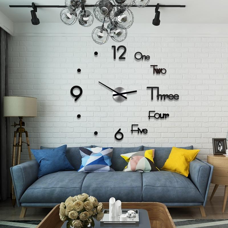 New 3D Living Room Kitchen Watch Clock Acrylic Fashion Creative DIY Wall Clock Modern Design Home Decor Free Punch Free Shining
