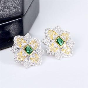 Image 2 - CMajor S925 Solid Sterling Silver High end Delicate Vintage Temperament Elegant Flower Shape Two Tone Stud Earrings for Women