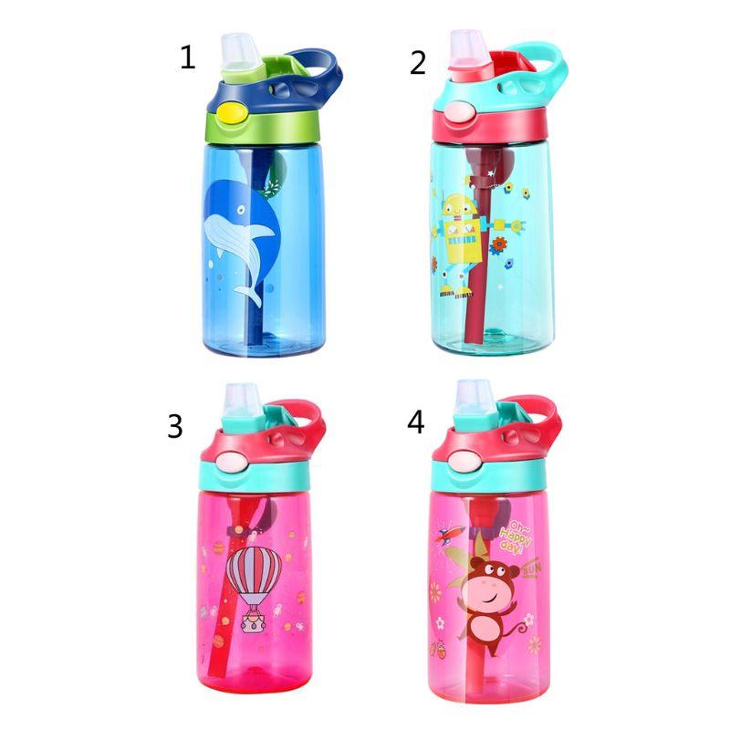 480ML Baby Kinder Fütterung Tassen Mit Strohhalme Deckel Dicht Wasser Flaschen Outdoor