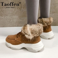 Taoffen Women Snow Boots Real Leather Fashion Warm Fur Winter Shoes Woman Plush Lace Up Short Boot Casual Footwear Size 35 39