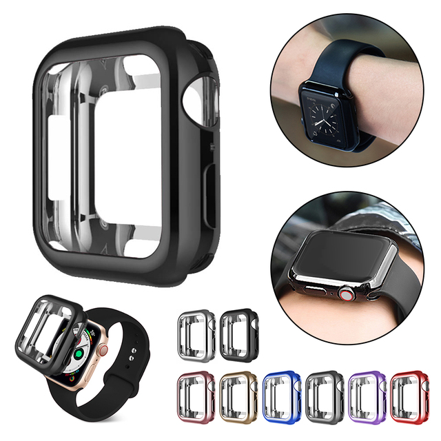 Watch case ultra-thin plated watch case for Apple 4 3 2 1 42MM 38MM soft transparent TPU cover for iWatch 44MM 40MM