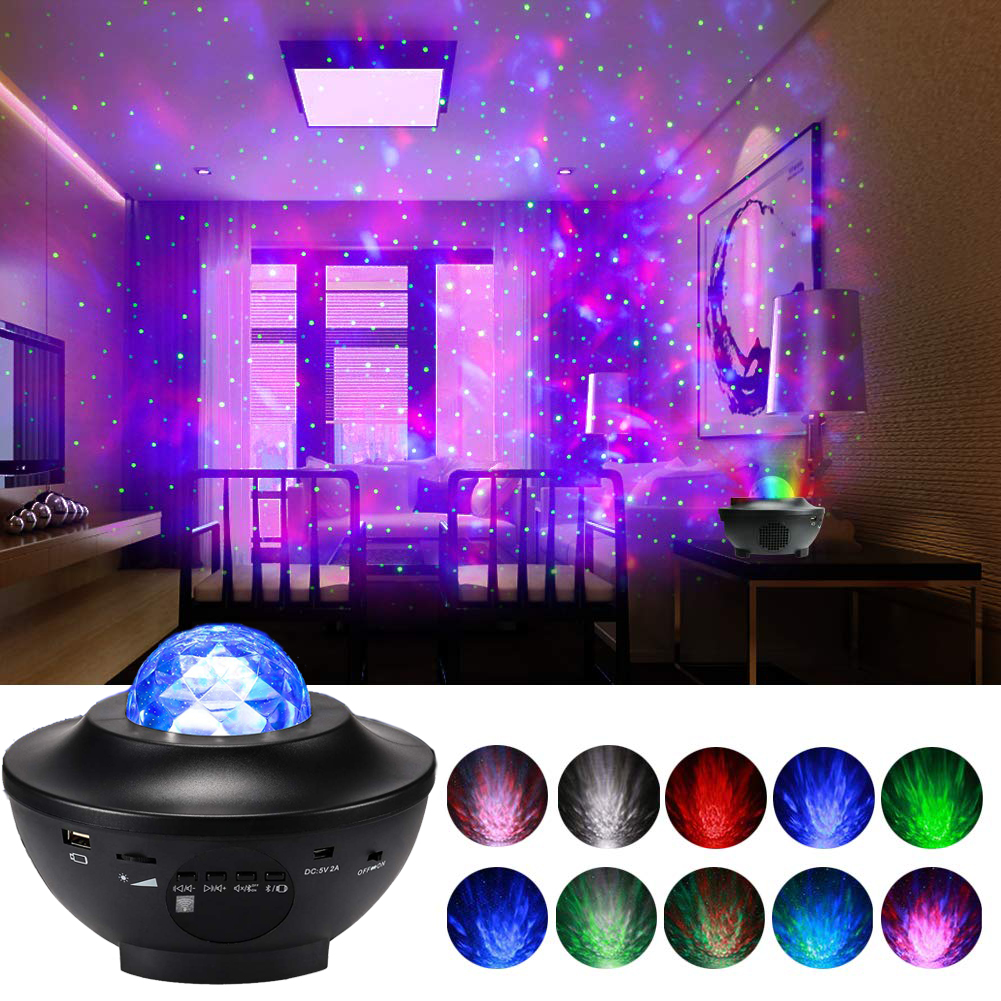 Ocean Wave Projector LED Night Lamp Built In Music Player Remote Control 10 Light Modes Cosmos Star Luminaria For Kid Bedroom