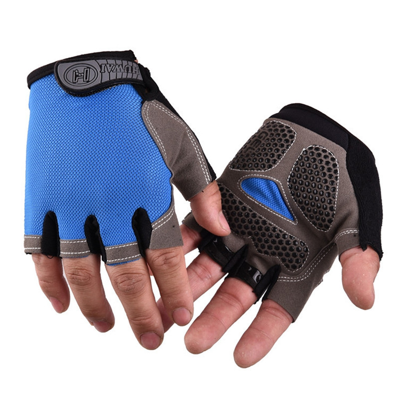 Silicone Cycling Anti-slip Anti-sweat Men Women Half Finger Gloves Breathable Anti-shock Sports Gloves Bike Bicycle Glove NEW