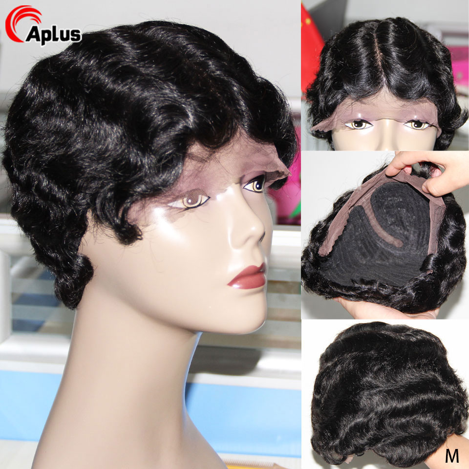 Pixie Cut Wig Human Hair Short Ocean Wave Full Wigs Natural Finger Wave Hairline Full Machine Wig 150 Peruvian Remy Hair 8 Inch