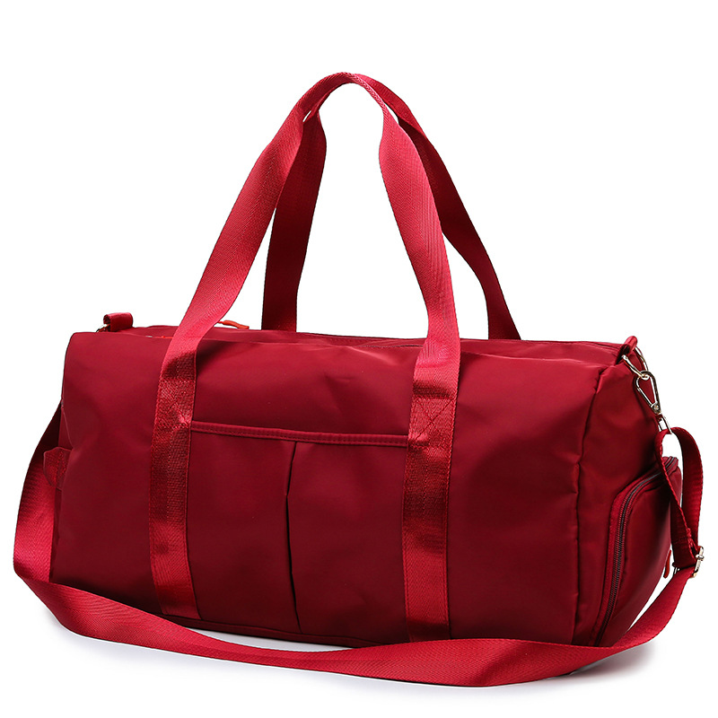 Large Capacity Travel Gym Tote Travel Bag Red Casual Shoulder Bags Weekend Portable Nylon Tote Waterproof Handbags 2019