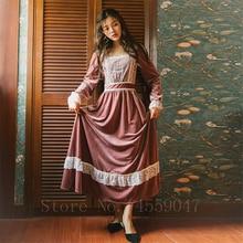 Винтажное женское платье принцессы в стиле ренессанс средневекового дворца элегантное Ретро викторианское бархатное вечернее платье со шнуровкой большие свинг-платья