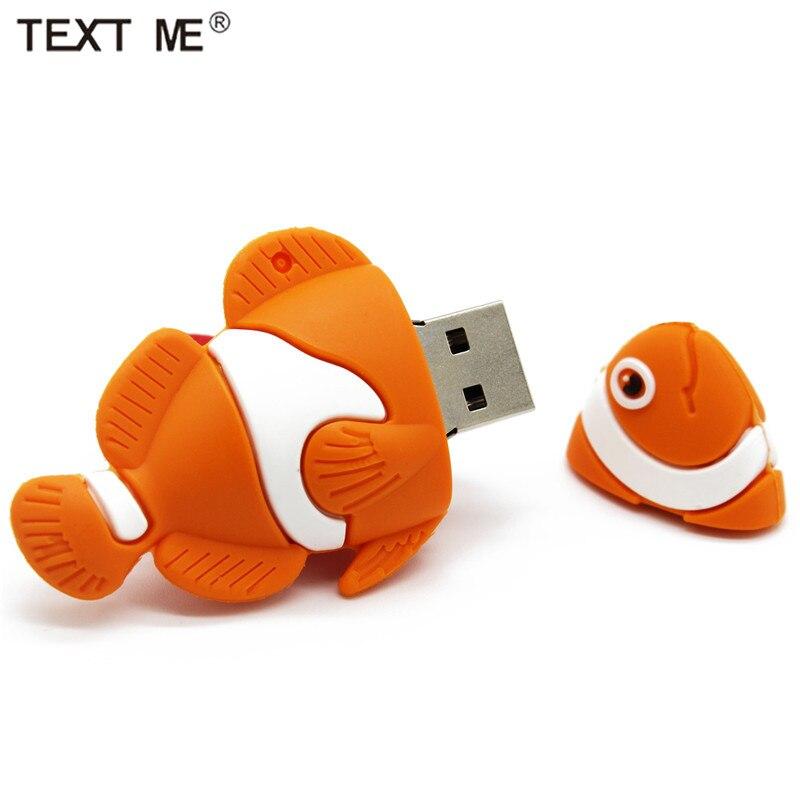 TEXT ME Cute Cartoon Fish Usb 2.0 Usb Flash Drive  4GB 8GB 16GB 32GB 64GB Wdeeing Gift