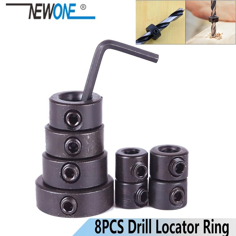 NEWONE 8pc/sets Metric Drill Bit Shaft Depth Stop Collars Woodworking Drill Bit Limited Ring Collar