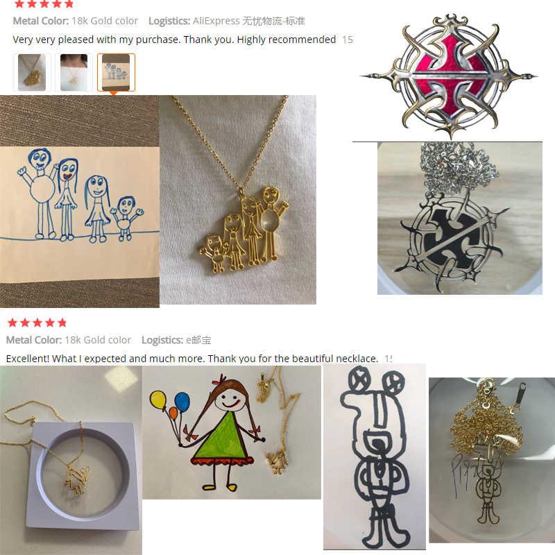 قلادة مخصصة للأطفال الرسم ، فن الطفل الفني القلائد شخصية الكتابة على الجدران مخصص اسم التصميم الخاص بك شعار المجوهرات