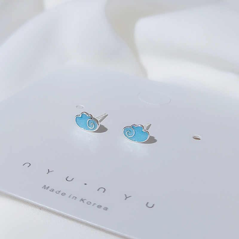 FENGLI Einfache Kaninchen Asymmetrie Ohrringe Für Frauen Giraffe Silber Farbe Farbe Stud Ohrring Mädchen Schmuck Geschenk ohrringe