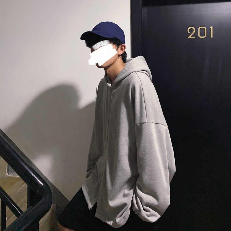 Mannen Oversized Hoodies Vriendje Stijl Losse Rits Hooded Sweater Ins Cec Tij Fleece Effen Student Oversize Hoodie Jas