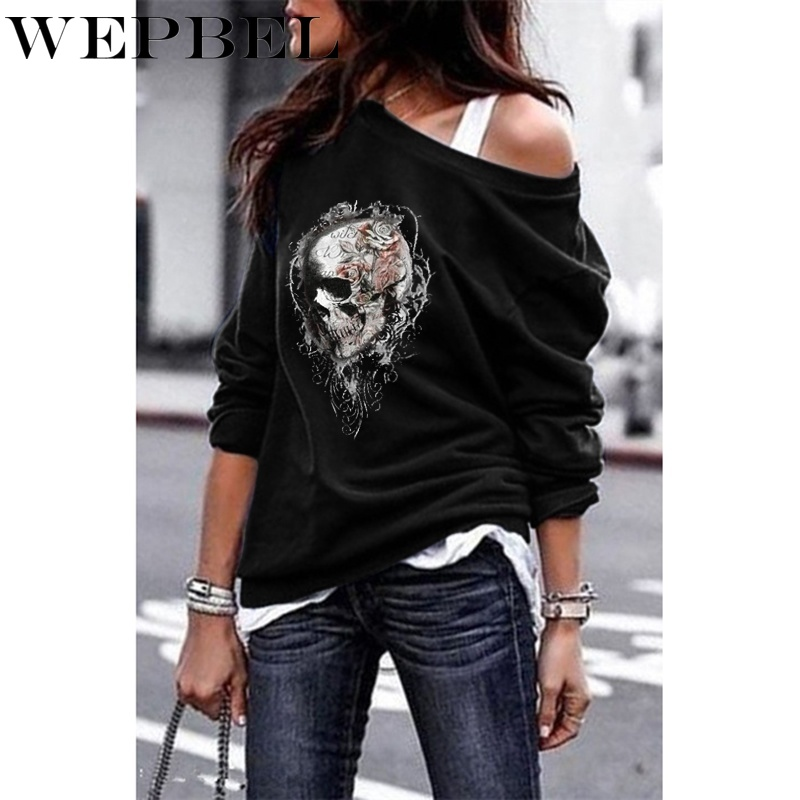 WEPBEL 5 Colors Sweatshirts Women One-shoulder Sweatshirt Gothic Tee Shirt Skull Printed Long Sleeve Pullover Tops S-5XL