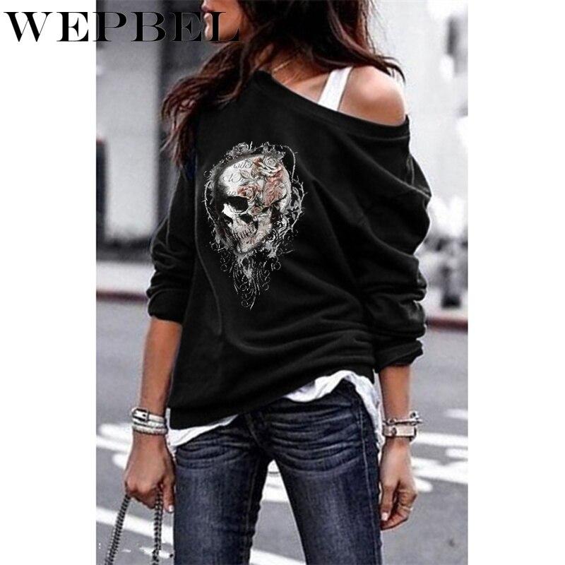 WEPBEL 5 Colors Sweatshirts Women One-shoulder Sweatshirt Gothic Tee Shirt Skull Printed Long Sleeve Pullover Tops S-5XL
