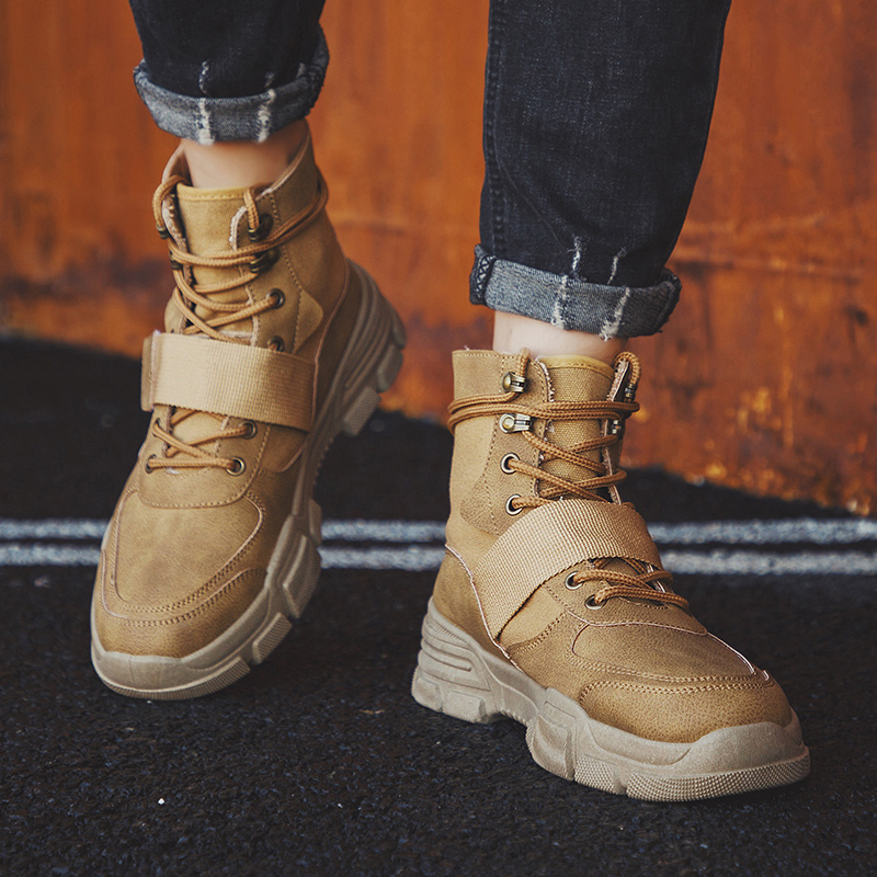 DIHOPE 2020 High Quality Fashion Winter Men's Boots Warm Working Boots Lace Up Men's Desert Boots Round Toe High Top Shoes