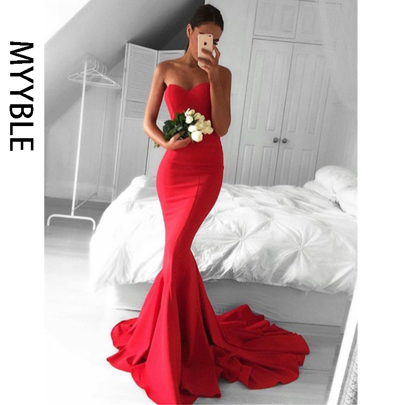 MYYBLE Evening Dress Mermaid Tulle Sexy Long Floor-length Appliques Lace Sweetheart Evening Dresses Sleeveless Evening Gowns