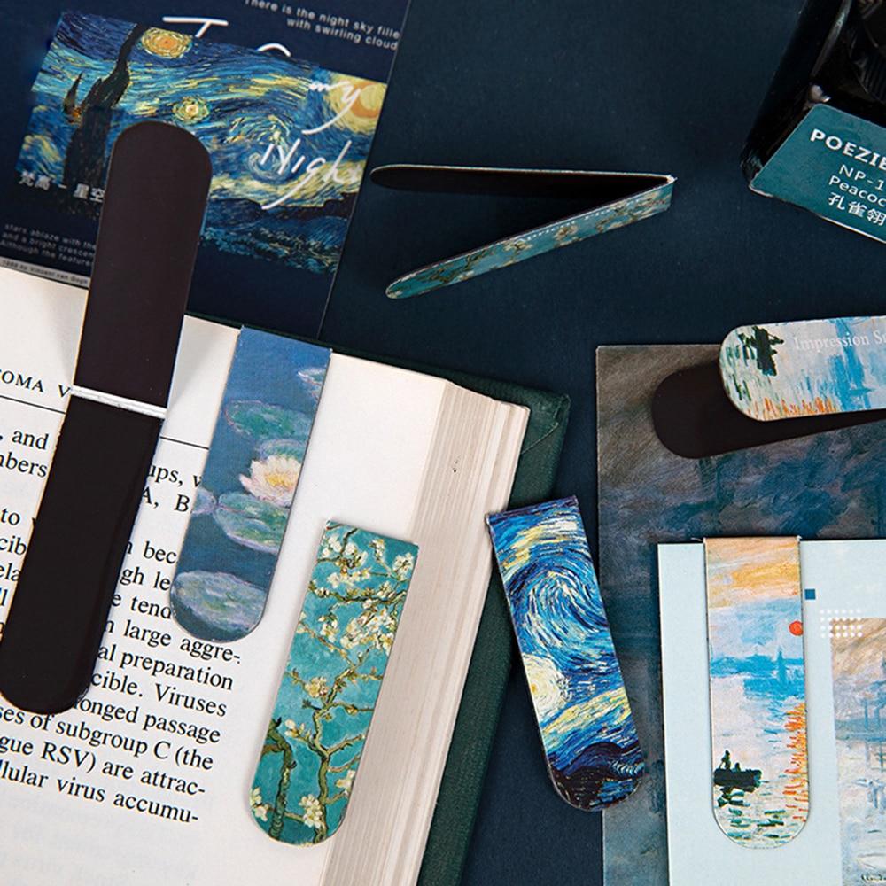 1Pcs Creative Magnetic Bookmarks Van Gogh Literature Art Series  Books DIY Decoration Mark Fridge Sticker Stationery