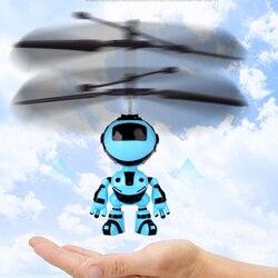 Robô design rc helicóptero presente zangão controle de mão crianças voando jogo quadcopter mini indução infravermelha com luz led brinquedos
