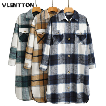2020 Autumn Winter Women Fashion Warm Vintage Plaid Oversize Woolen Jackets Coat Casual Loose Long Overcoat Female Outwear Tops 1