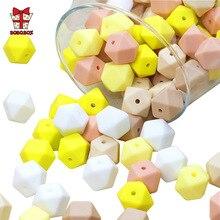 BOBO.BOX 300pcs Hexagon silicone Beads 14mm Baby Teether Eco-friendly BPA Free