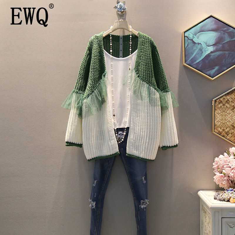 [EWQ] 2019 Spring Autumn High Quality V-collar Long Sleeve Hit Colors Knitting Patchwork Mesh Open Stitch Sweater Women AH48705