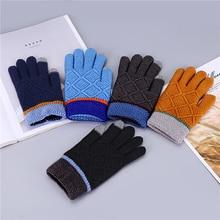 1 пара От 8 до 14 лет зимние перчатки для сенсорного экрана для мужчин/мальчиков полный палец крючком Вязаные Guantes утолщаются варежки подарки на день рождения