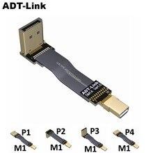 Displayport 1.2 kablo 144Hz Mini DP1.2 60HZ 4K Mini DisplayPort Displayport 1.2 kablo Vesa uyumlu HBR3 4K/60Hz açılı