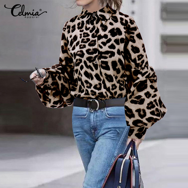 Top Fashion 2019 Celmia Women Long Puff Sleeve Blouses Shirts Lapel Buttons Casual Loose Solid Party Work Blusas Mujer Plus Size 3