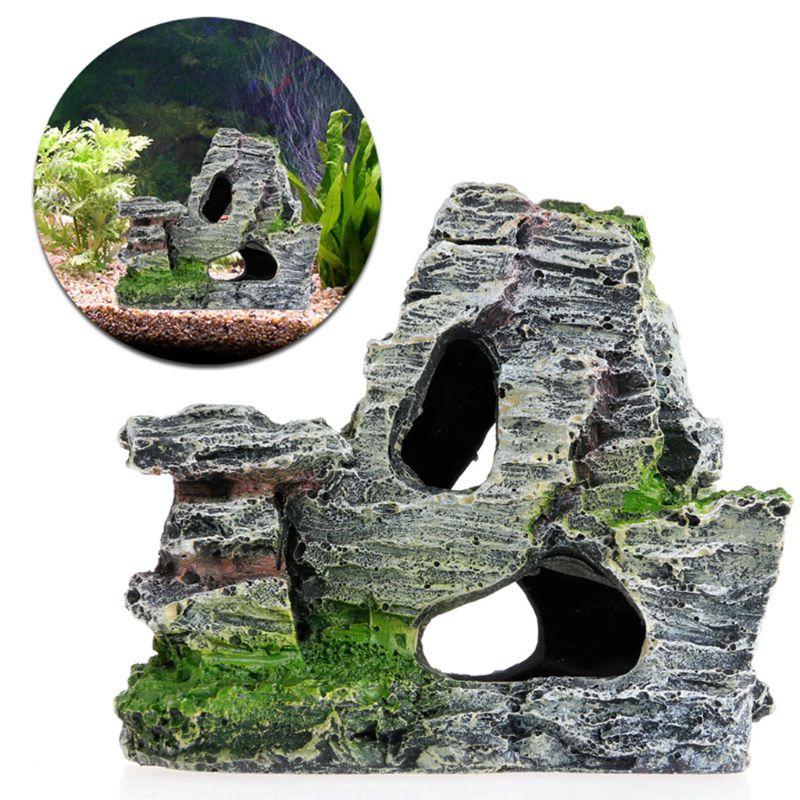 Аквариум с видом на горы украшения мох дерево дом смолы пещера с рыбами, аквариум орнамент украшения каменное низшее напряжение Декор Аксес...