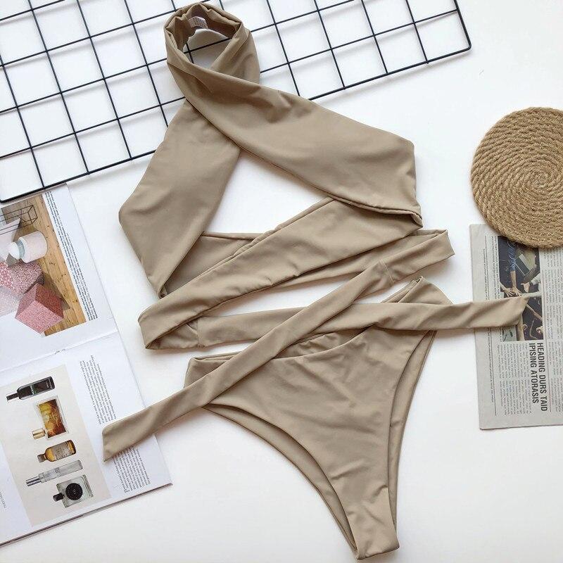 Halter Bandage Two Piece Bikinis Set 2020 Padded Swimming Suits For Women Diy Biquine Female Beach Bath Suit