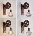 Ретро настенный светильник креативный кованый железный шкив настенный светильник личность ресторан коридор прохода Настенные светильник...