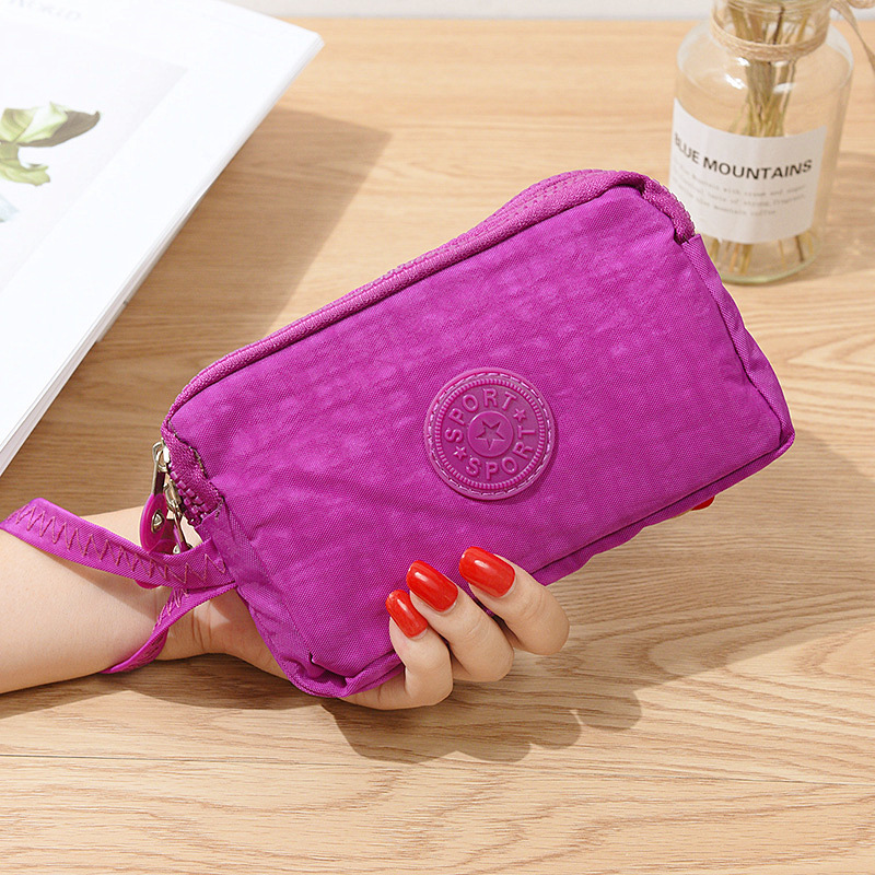 Ladies change mobile phone bag three-layer zipper short mobile phone bag large cross section hand take purse image