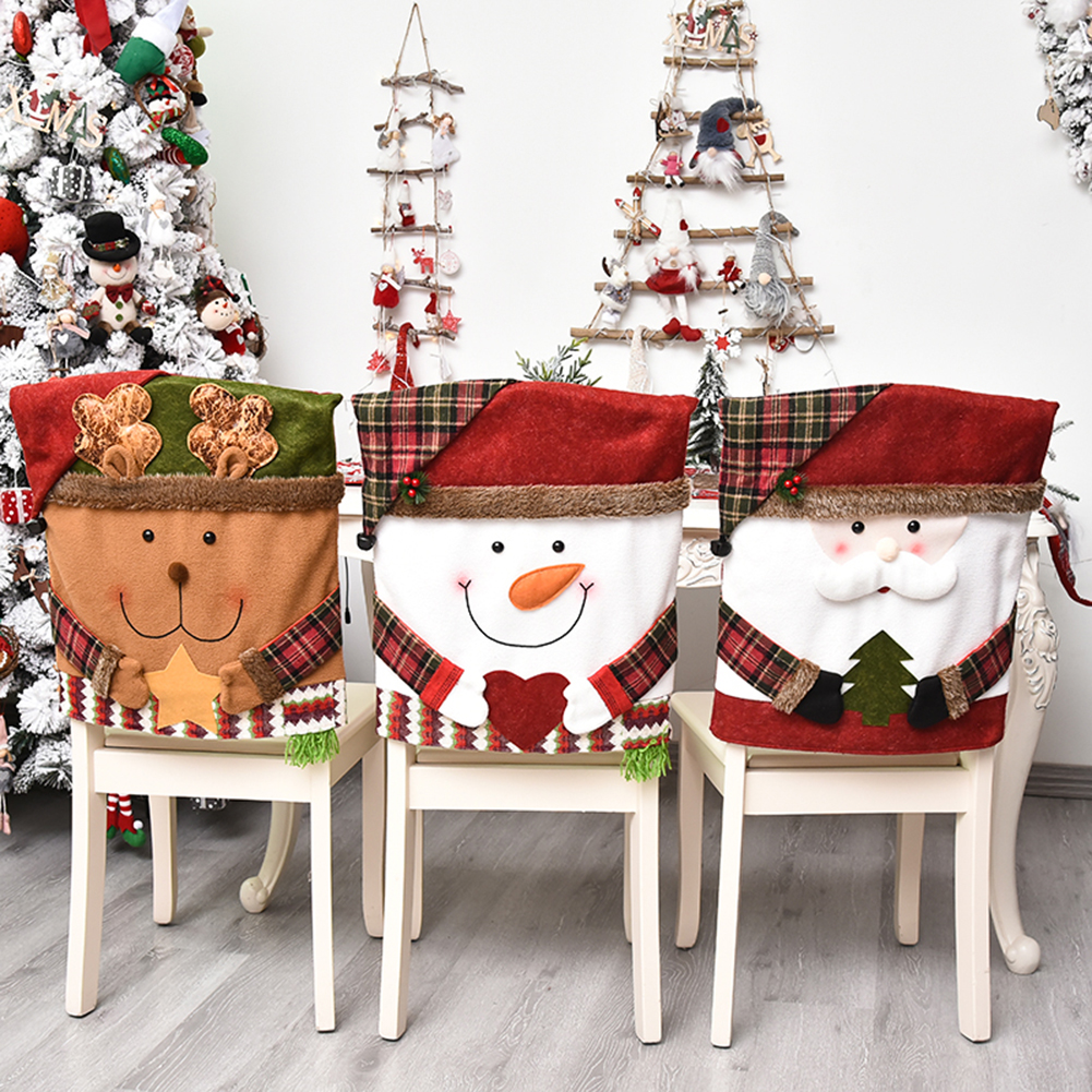Christmas Chair Cover Santa Claus Snowman Chair Sleeve Removable Slipcovers  Anti-Dust Furniture For Xmas New Year Decoration