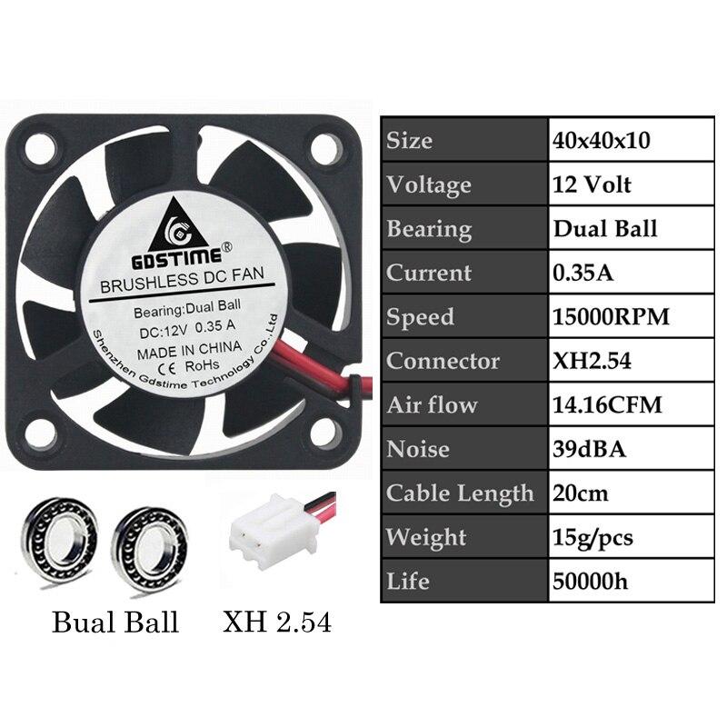 2 шт. Gdstime DC 5 в 12 В 24 в 40 мм x 40 мм x 10 мм 40 мм шарикоподшипник рукав мини маленькое охлаждение 4 см вентилятор 3d принтер охлаждающий вентилятор - Цвет лезвия: 12VDualBall0.35A