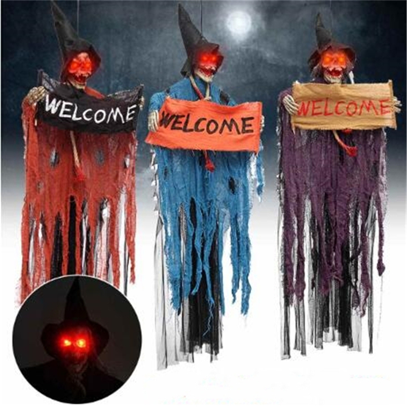 Halloween haunted house bar horror decoration props hanging ghost ornaments skull pendant Light Up Eyes Zombie Ghost|Party DIY Decorations|   - AliExpress