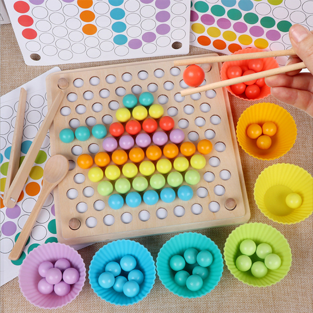 Baby Early Educational Toys Montessori Wooden Toys Hands Brain Training Clip Beads Puzzle Board Math Game Kids Toys