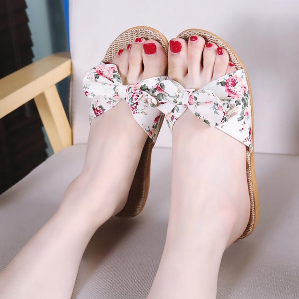 JAYCOSIN Shoes Woman Female Bohemia Bowknot Flax Linen Flip Flops Beach Shoes Sandals slippers flip flops zapatos de mujer 2