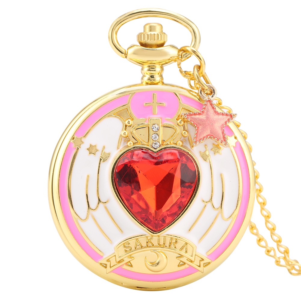 Graceful Double-sided Patterned Case Pocket Watch For Girls Necklace Clock Female Accessory Delicate Red Star Jewelry Gifts
