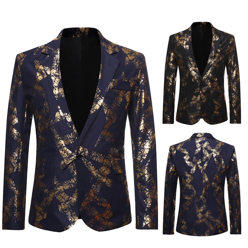 The New 2019 New Men Bronzing Printing A Thin Suit Suit Fashion